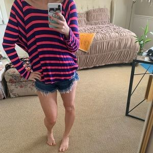 Blue & Pink Striped Cozy Top